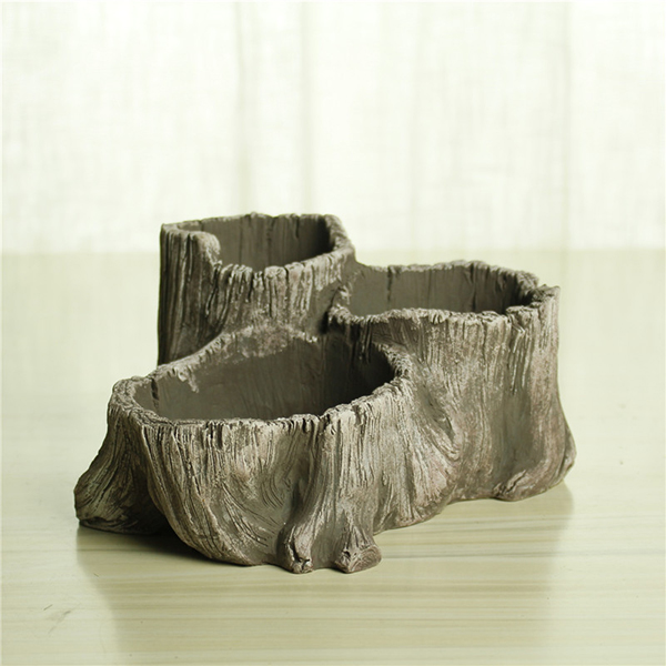 Wholesale price home goods cement tree stump fancy small flower pots