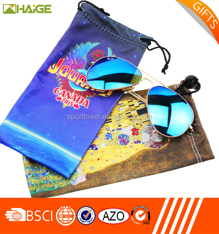 China supplier microfiber eyewear double drawstring soft pouch with logo printing,soft pouch sunglasses case