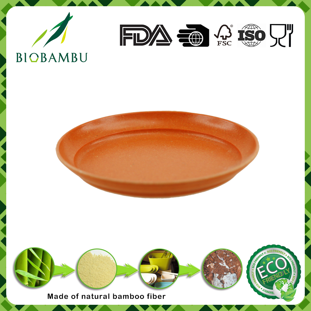 Round portable inexpensive bamboo fiber flower pot tray