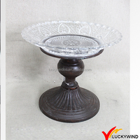 Antique Metal and Glass Recycle Pedestal Cake Plate