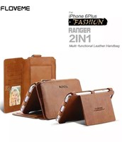 2 in 1 multi-functional leather handbag 360 degree full protect large capacity space wallet style case for iPhone 6 6S 6 Plus