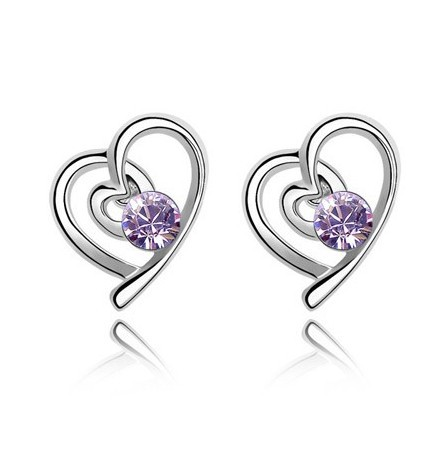 Korean Style White Gold Plated Double Crystal Love Heart Shaped Stud Earrings