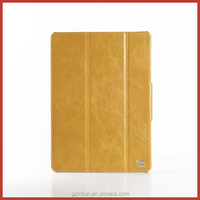 Yellow three fold flip tablet leather case for ipad air