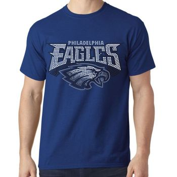 Custom 100% Cotton Printing Eagle Rhinestone Motif Sublimation T-shirt