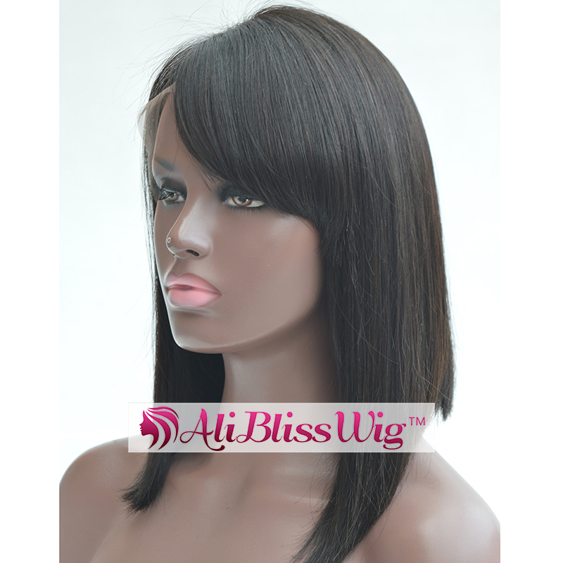 Fashion 14 Inch 150% Density Black Straight Glueless Side Bang Brazilian Human Hair Short Bob Lace Front Wig for Black Women