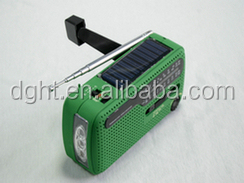 crank dynamo solar flashlight radio with charger