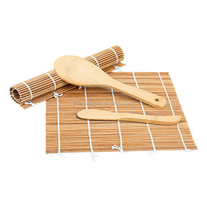 DIY bamboo sushi kit including rolling mat, rice paddle and spreader set