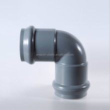 63mm upvc plastic pipe water fitting 90 degree flange elbow PN10 with rubber ring