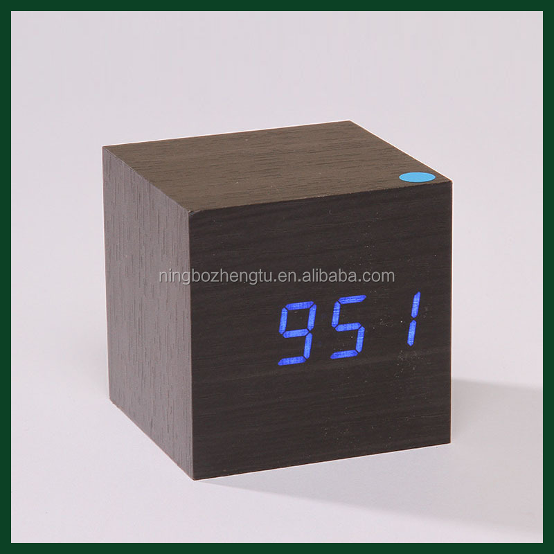 Hot sale wooden MDF+PVC led table antique wooden cube clock