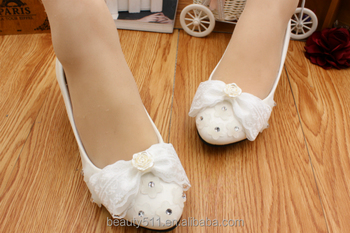 Bow tie lacy water drill slippers bridal shoes and shoes with low heels and photo shoes WS020