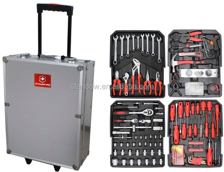 Professional 186 trolley tools box (tools;24pcs tool set with flashlight)