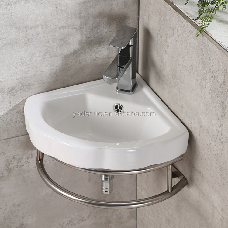 Whole sale ceramic small size corner wash basins bathroom kitchen wall hung sinks with stainless steel holder
