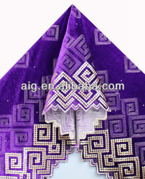 African Velvet Lace Fabric, Velvet Lace with sequins ,5985 PURPLE