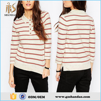 2016 Guangzhou Shandao New Elegant Women Nice Autumn Casual Long Sleeve Striped Yarn Dyed 200g Polyester Polo Shirts
