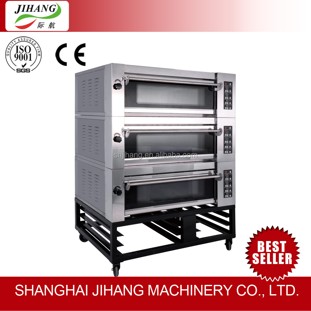Professional Pizza Oven Equipments 3 Deck 6 Tray french bread oven gas for Pizza Restaurants