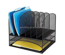 2017 Metal Mesh office desktop File Magazine holder Organizer with 6 Vertical 2 Horizontal Sections