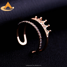 New Designs Cubic Zirconia Crown Ring,Latest Rose Gold Jewelry Rings for Women