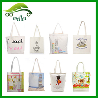Trade wholesale promotional custom printed cheap cotton canvas tote bag