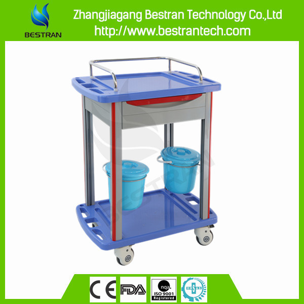 China BT-MY012B hospital ABS medicine trolley, medication storage cart with buckets and drawer
