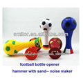 Plastic joyshaker water bottle opener hammer with sand football rattle