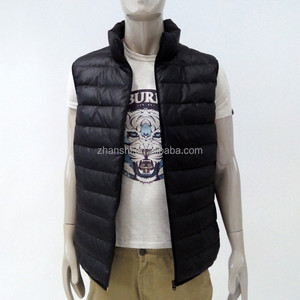 High Quality OEM Western Fashion Mens Vests Winter Shiny Leather Down Vests Male