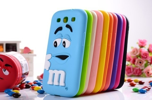 Cute 3D cartoon kids Silicone M&M Chocolate Beans Case cover for Samsung galaxy S3 I9300 ,50pcs/lot
