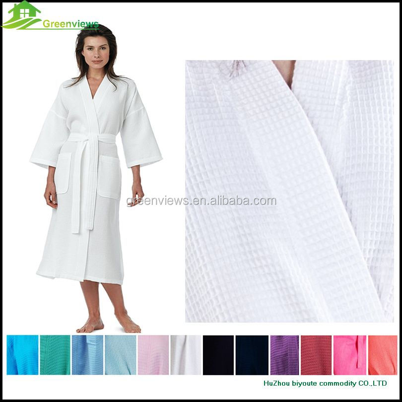 Women's cotton waffle bathobes bathroom robes bright colors sleep wear cotton waffle night dress