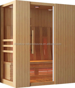 2017 new style wholesale solid wood far infrared wooden steam sauna with computer control panel