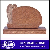Large Size Single Angle Red Craved Granite Tombstone for graves