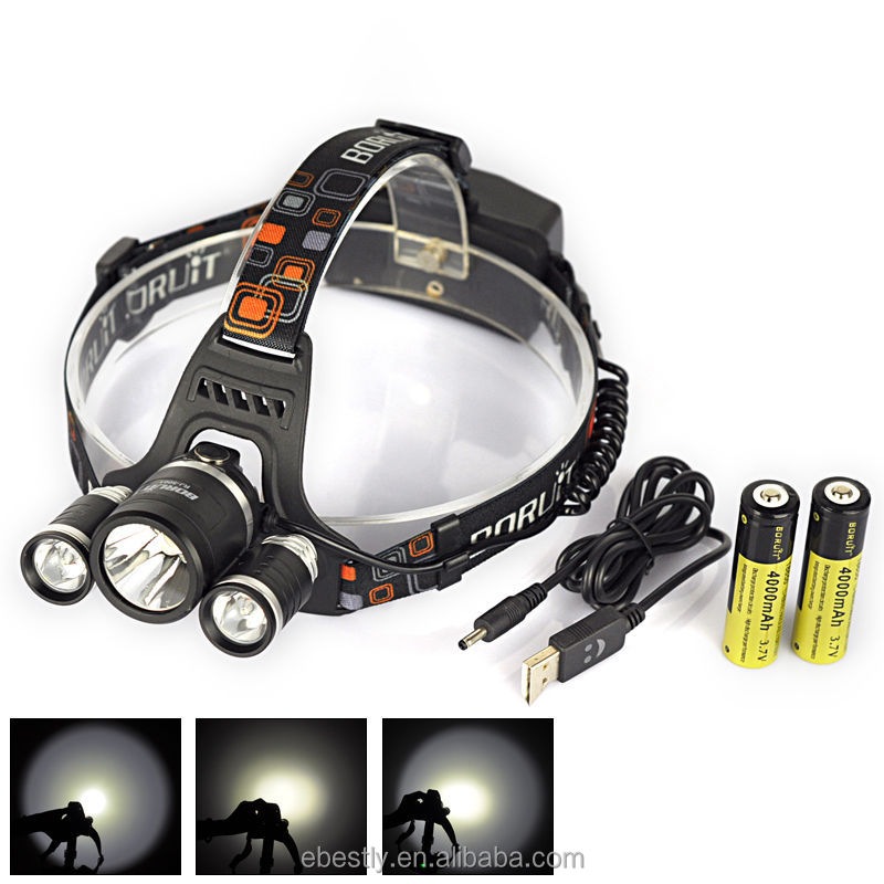 Powerful Boruit RJ-5000 LED Headlamp XM-L <strong>L2</strong> 4 Modes Waterproof 6000 Lumens head lamp headlamp with EU/US/AU/UK Charger