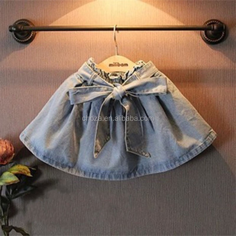 C64789A summer bowknot design denim short skirt for children