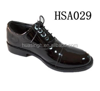 abrasion resistant oxford sole officer police dress shoes with patent leather