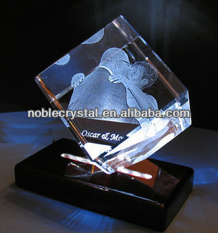 Noble 3d Laser Engraved Crystal Cube Award