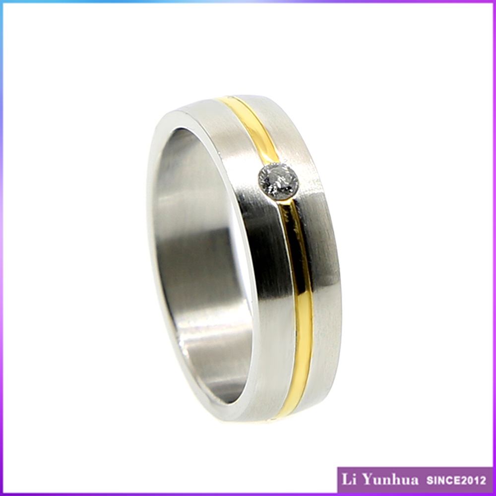 Custom gold plated ring stainless steel gold and steel color jewelry ring with white cz stone
