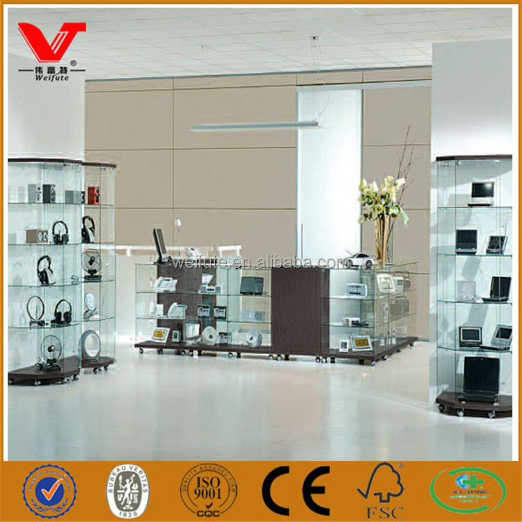Good quality shopping mall glass computer and ipad display wall showcase for sale