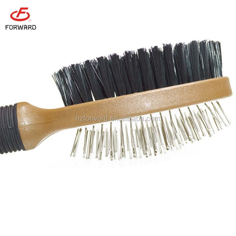 wooden handle double side dog grooming brush wholesale
