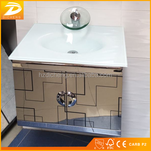 Wall Hung Modern Designs Commercial Home Used Glass Top Stainless Steel Bathroom Cabinet