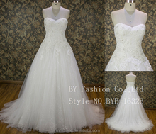 Fabulous Tulle Sweetheart Neckline Ball Gown Strapless Wedding Dresses With Beaded Lace Appliques