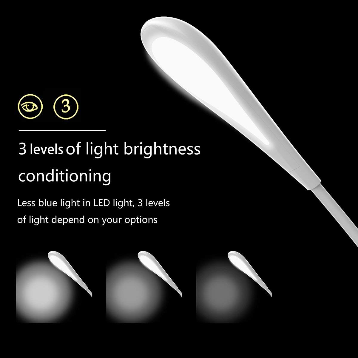 YARRAE 2018 3 Levels Dimmable Eye care Reading Lamp Folding Touch Control Table Lamp