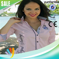 Fashion Women Embroidered Long Sleeve Denim Shirt