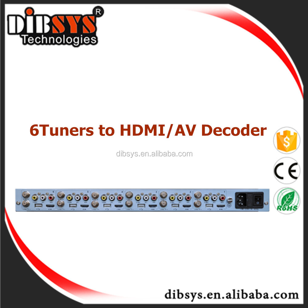 6 Tuner to AV and HDMI digital tv decoder to mpeg2/h.264 cable tv digital encoder and analog tv modulator