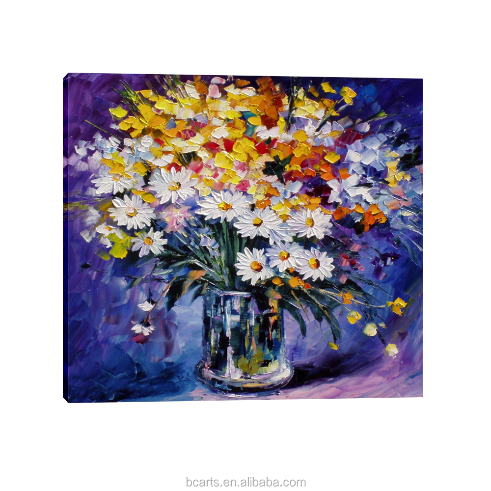 Handpainted canvas flowers modern decorative art knife abstract purple flower oil painting with frame