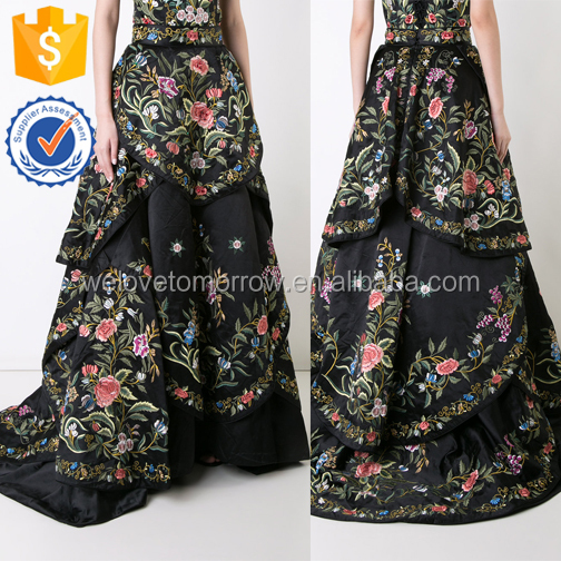 100%Silk Blooming Colorful Floral Print Black Basic Maxi Skirts For Ladies Manufacture Wholesale Fashion Women Apparel (TE0157k)
