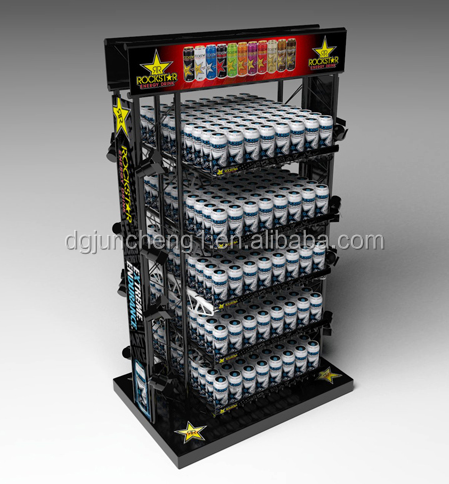 Themed energy drink display with wire and tubing framed sides and wood base