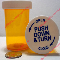 Medical Cannabis pill Plastic Prescription Push and Turn Vial