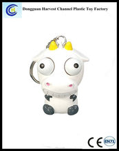 Soft PVC anti-stress cartoon animal eye pop out squeezing promotional keychains/keyrings