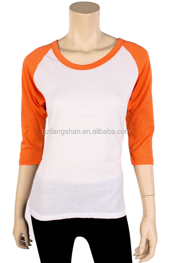 New raglan baseball womens casual tee t shirt top 3 4 for Best baseball t shirts