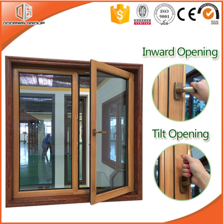 Top Quality Aluminum Clad Teak / Oak / Pine Wood Tilt and Turn Windows From China Window Manufacturer