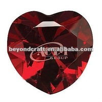 red crystal heart diamond with custom logo as valentines gifts
