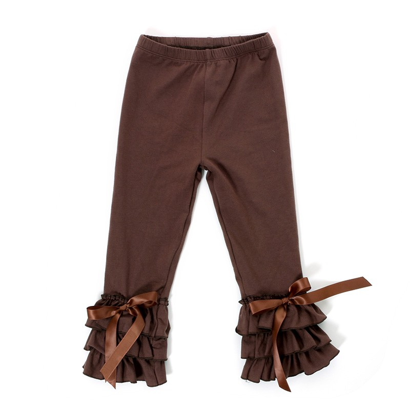 Wholesale Children Boutique Clothing Girls Triple Ruffle Pants Baby Girls Icing Leggings Design